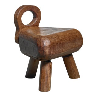 Low Campagne Style Wood Stool, France For Sale