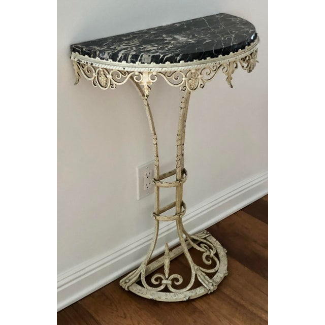 Antique Art Deco Painted Wrought Iron Marble Top Demilune Console Table For Sale In Los Angeles - Image 6 of 6