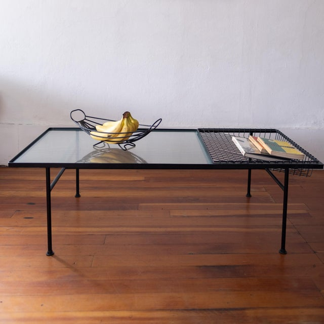 Metal Mid Century Modern Iron Coffee Table With Magazine Holder For Sale - Image 7 of 13