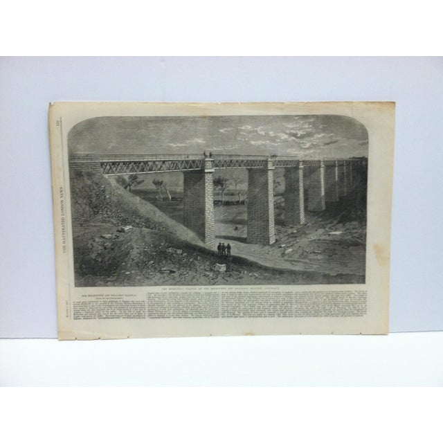 """Mid 19th Century 1862 Antique """"The Modrabool Viaduct on the Melbourne and Ballarat Railway - Australia"""" The Illustrated London News Print For Sale - Image 5 of 5"""