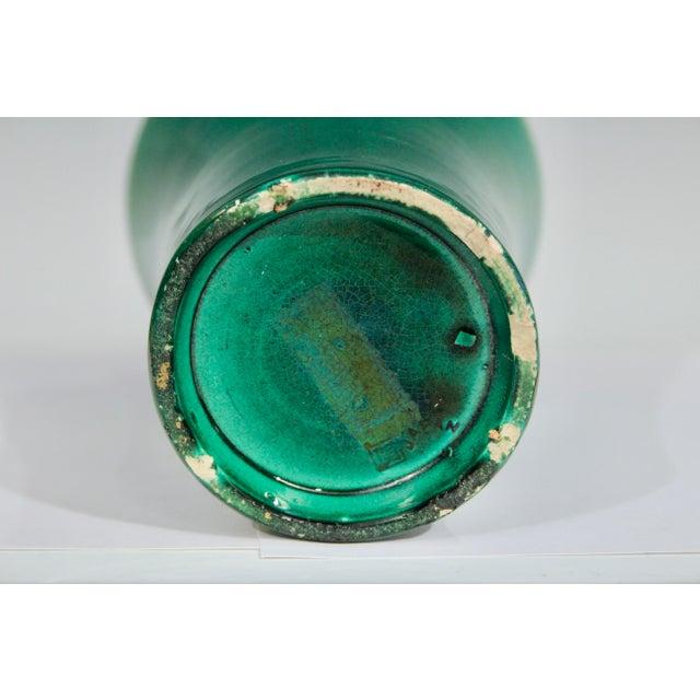 Ceramic Antique 1910s Awaji Art Nouveau Studio Pottery Meiping Organic Green Monochrome Vase For Sale - Image 7 of 11