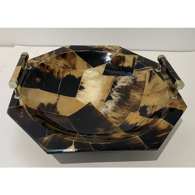 Vintage Octagonal Tessellated Horn Serving Bowl With Handles For Sale - Image 9 of 13