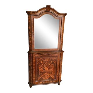 Dutch Mahogany and Marquetry Corner Cupboard or Cabinet For Sale