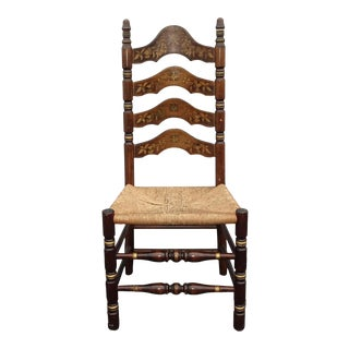Vintage French Country Rush Ladderback Chair W Floral Painted Backrest For Sale