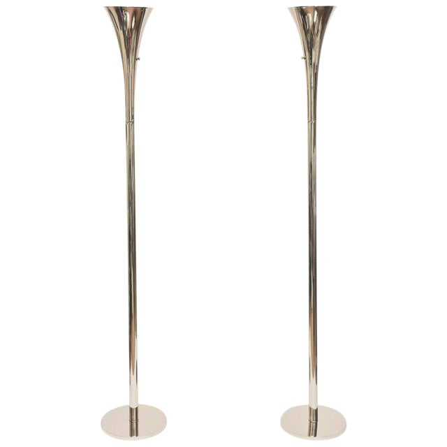 Pair of Midcentury Laurel Nickel Silver Torcheres/ Floor Lamps For Sale