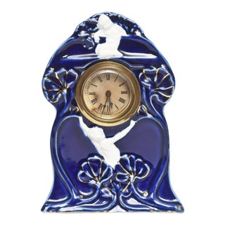 Art Nouveau Colbalt Blue Gilt Porcelain Desk Clock