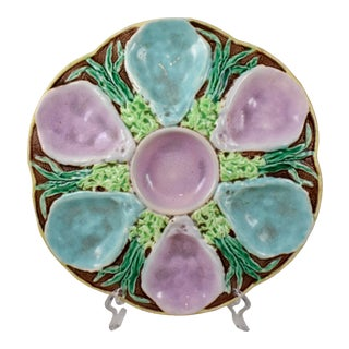 19th C. Fielding & Co. English Majolica Oyster Plate For Sale