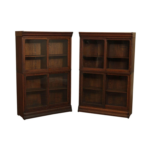 Danner Antique Oak Stacking Sliding Door Bookcases (B) - a Pair For Sale - Image 13 of 13