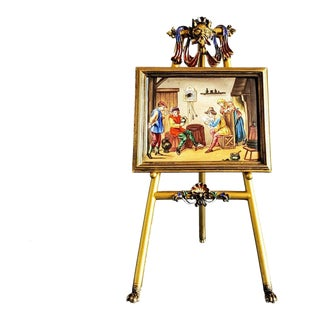 19th Century Viennese Enamel Gilded Miniature Picture Clock For Sale