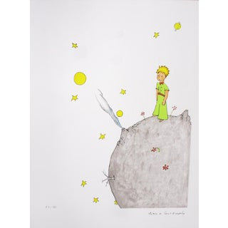 2008 Antoine De Saint Exupery 'The Little Prince on His Asteroid B 612' Modernism Gray,Gold,White,Yellow,Pastel Lithograph For Sale