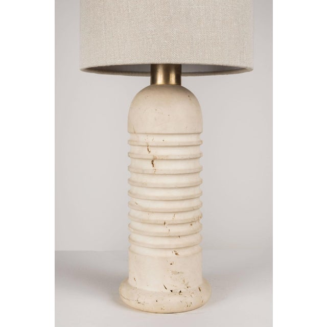 Italian Carved Travertine Table Lamps - A Pair For Sale - Image 3 of 4