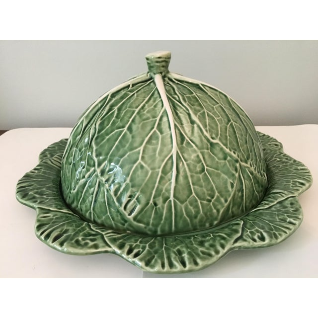 Beautiful, green cabbage two piece (dome & platter) serving set crafted in Portugal by Bordallo Pinheiro. This unique set...