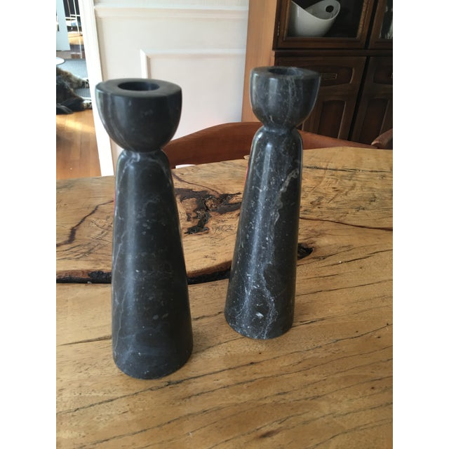 Black & White Marble Candleholders - A Pair - Image 5 of 5