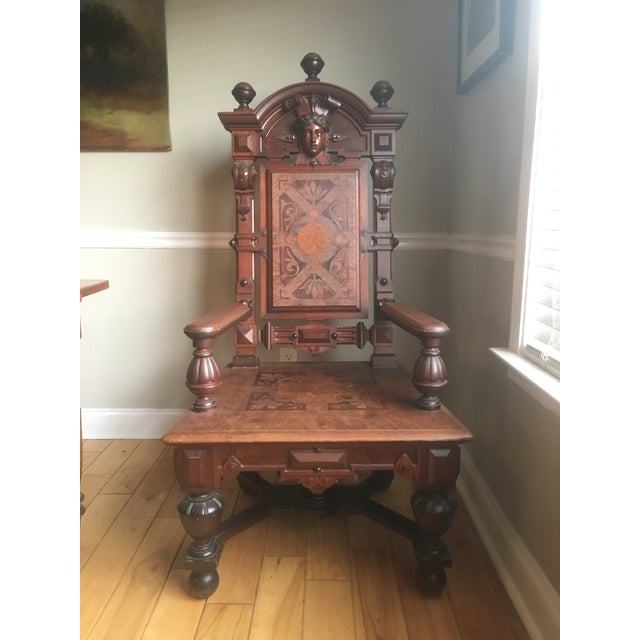 Renaissance Revival Mahogany Throne Chair For Sale - Image 9 of 9