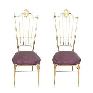 Brass & Aubergine Crocodile Leather Seat Chairs - A Pair