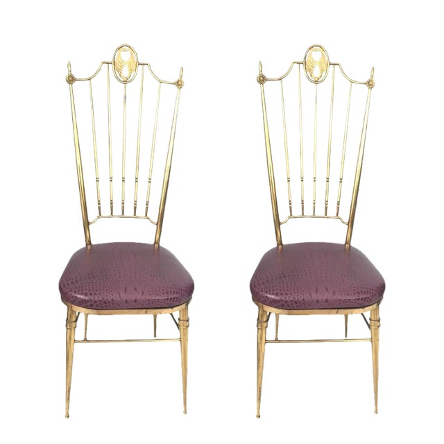 Brass & Aubergine Crocodile Leather Seat Chairs - A Pair - Image 1 of 6