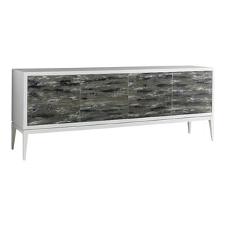 English Country Home 4 Door Sideboard Cabinet With Glass Front For Sale