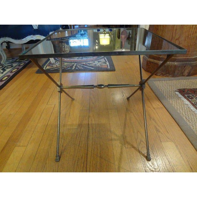 French 1940's French Neoclassical Style Brass Side Table For Sale - Image 3 of 8
