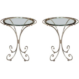 Pair of Glass Top Metal End Tables For Sale