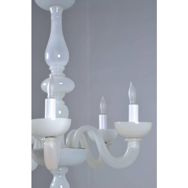 Murano Opalescent Five-Arm Chandelier, Circa 1940s For Sale - Image 10 of 11