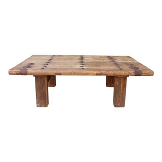 Vintage Rustic Coffee Table With Bronze Accent For Sale