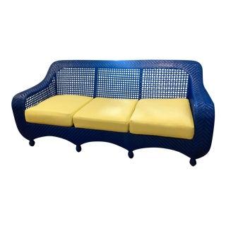 1990s Vintage Nantucket Wicker Blue Sofa For Sale