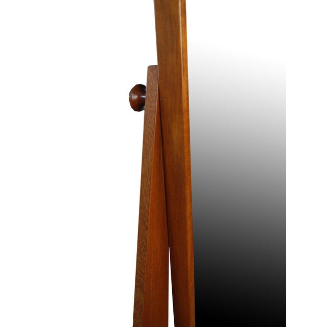 Vintage Danish Modern Teak Full Length Floor Mirror by Pedersen & Hansen For Sale In New York - Image 6 of 13
