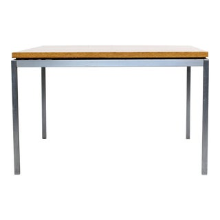 1950s Mid-Century Modern Knoll Square Steel and Walnut Floating Coffee Table For Sale