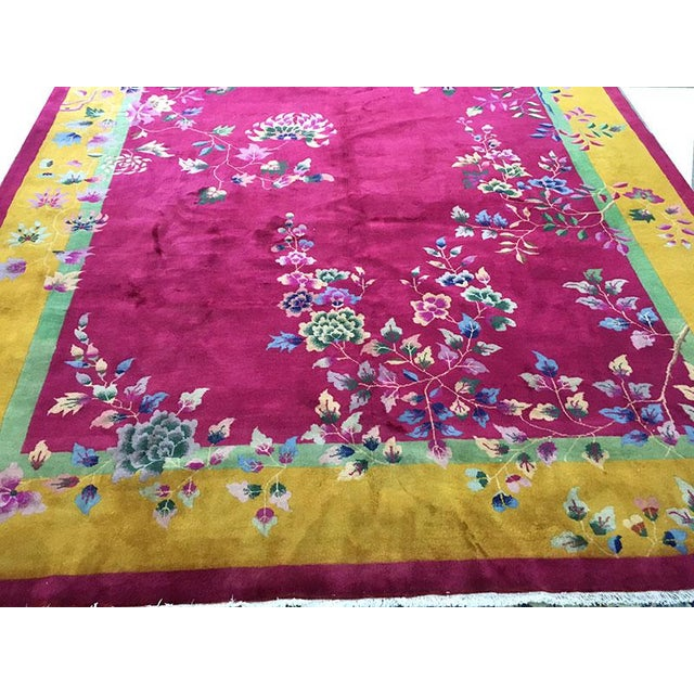 Textile 1920s Vintage Nichol Art Deco Chinese Rug - 9′ × 11′4″ For Sale - Image 7 of 8