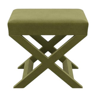 X Bench in Moss Velvet For Sale