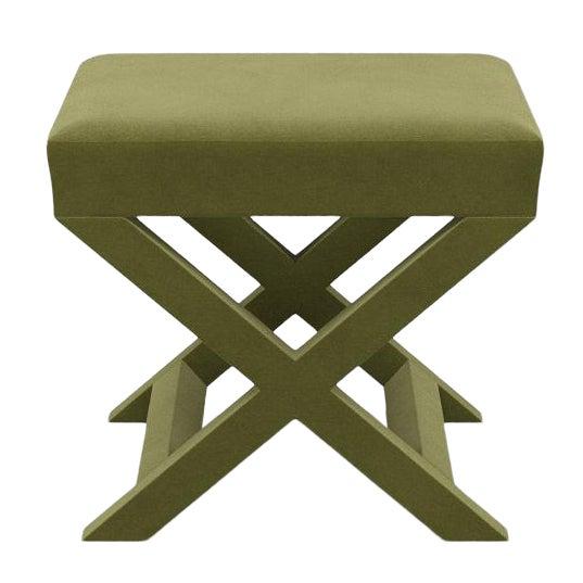 X Bench in Moss Velvet For Sale