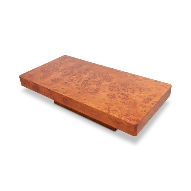 Hollywood Regency Coffee Table in Burl Wood For Sale - Image 4 of 5