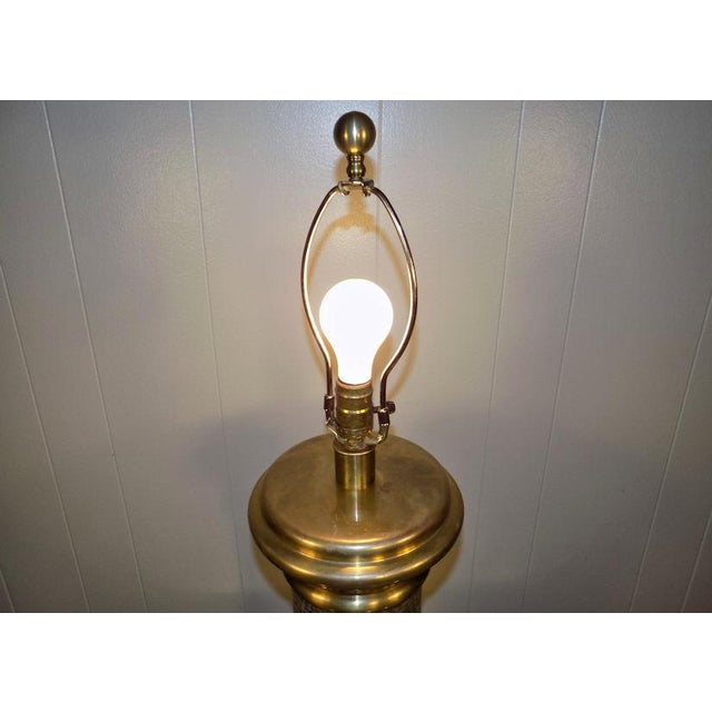 1990s Chapman Brass & Hammered Metal Brutalist Lamp For Sale - Image 5 of 13