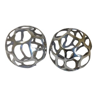 Aluminum Finish Free Form Decorative Balls - a Pair For Sale