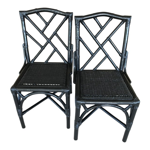 Coastal Regency Rattan Black Lacquered Chinese Chippendale Chairs-A Pair For Sale