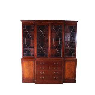 Mahogany Baker Chippendale Breakfront Bookcase For Sale