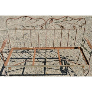 Late 20th Century Vintage Wrought Iron Maple Leaf Garden Patio Bench Settee Preview