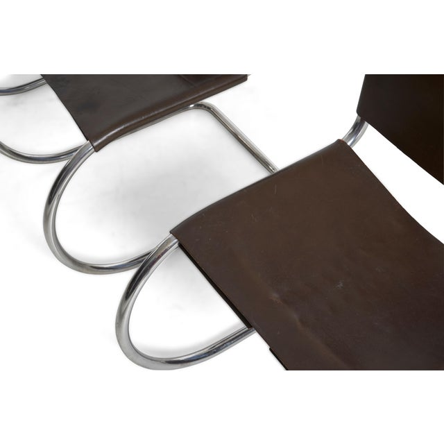 Metal Mies Van Der Rohe Mr Chairs Set of 4 For Sale - Image 7 of 8