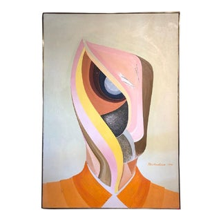 Large 1973 Abstract Portrait Oil Painting by Michaelsen For Sale