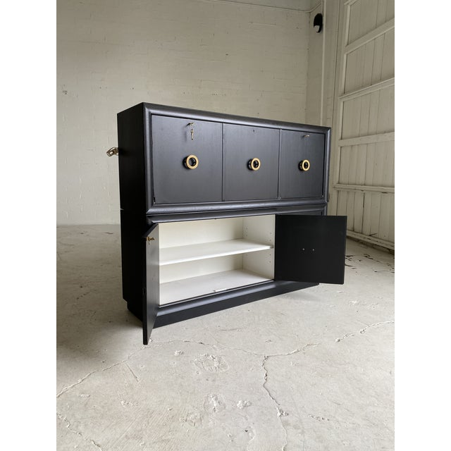 Mid-Century Black and Brass 2-Tiered Secretary For Sale In Phoenix - Image 6 of 9