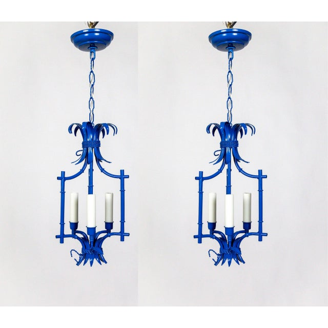 Palm Beach Style Blue Faux Bamboo Lanterns, Mid Century, Pair For Sale - Image 13 of 13