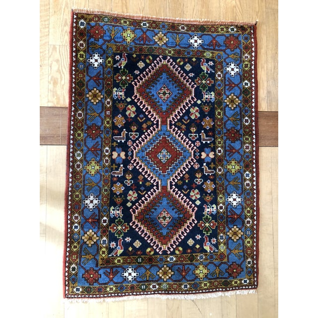 "1950s Vintage Hand-Knotted Wool Tribal Afshar Rug-3'6""x5'1"" For Sale - Image 9 of 13"