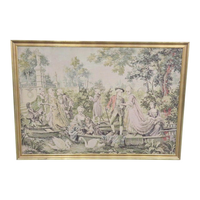 Large French Style Courtyard Tapestry For Sale