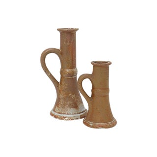 Rustic French Candle Stick Holders - a Pair For Sale