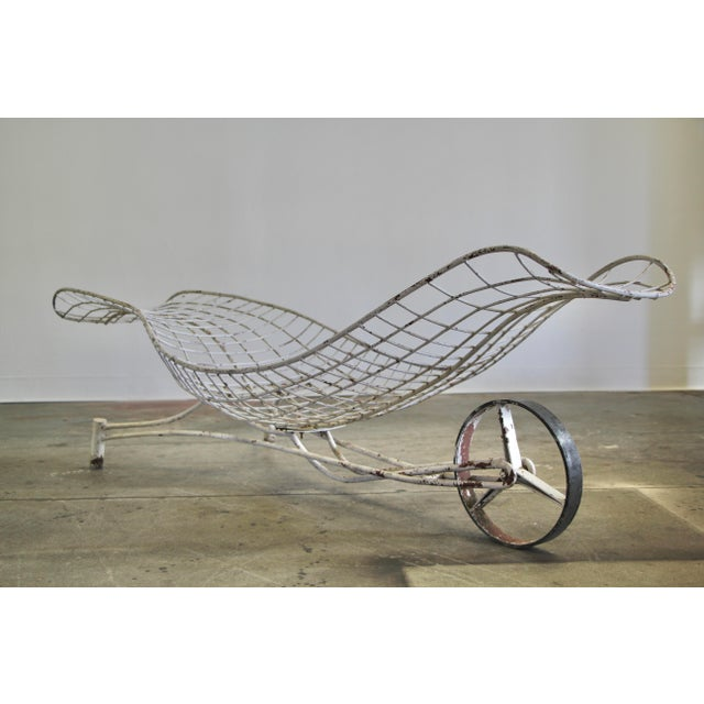 "An early 1950s indoor or outdoor powder-coated steel ""Capricorn"" chaise lounge by Vladimir Kagan. Elegant curved form,..."