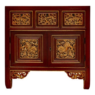 Chinese Vintage Fujian Golden Foo Dogs Carving Chest Cabinet For Sale