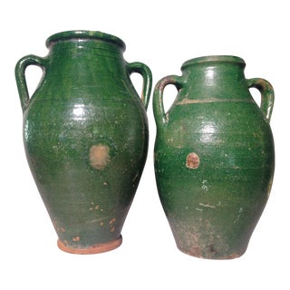 20th Century Mediterranean Olive Jars - a Pair For Sale