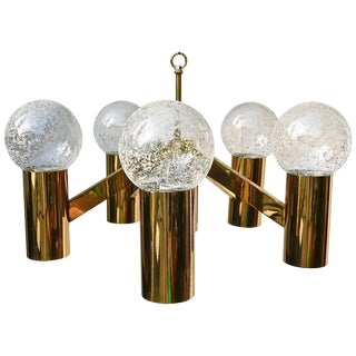 Five-Arm Brass Chandelier With Frosted Glass Ball Shades For Sale
