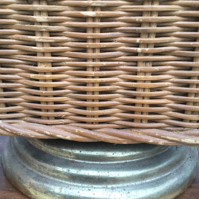 Mid Century Vintage Octagonal Wicker Lamp For Sale - Image 4 of 6