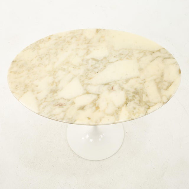 Knoll Mid Century Oval Marble Top Side End Tables With Tulip Base - a Pair For Sale - Image 10 of 12